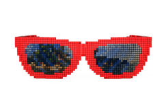 Sunglasses in Pixel Art Style. 3d Rendering. Sunglasses in Pixel Art Style on a white background. 3d Rendering Stock Photo