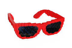 Sunglasses in Pixel Art Style. 3d Rendering. Sunglasses in Pixel Art Style on a white background. 3d Rendering Royalty Free Stock Images
