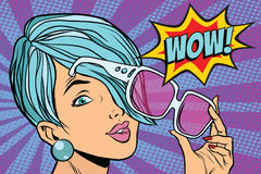 Sunglasses pop art woman wow reaction. Retro vector illustration Stock Photo