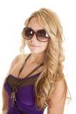 Sunglasses purple dress key necklace Royalty Free Stock Image
