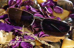 Sunglasses With Purple Petals Royalty Free Stock Images