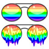 Sunglasses Rainbow Colors Surreal Fashion Accessories. Fashion Accessories, Trending Sunglasses Rainbow Colors, one with horizontal Rainbow Colors, and the other Stock Image