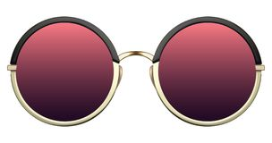 Sunglasses with red lens and gold metalic frame. Realistic sunglasses with red gradient lens and gold round metallic frame. Vector 3D illustration royalty free illustration