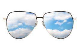 Sunglasses with reflection of cloudy sky. Isolated on white background. Realistic 3D illustration Stock Photos