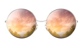 Sunglasses with reflection of cumulus cloudy sky. Sunglasses with reflection of pink and purple cumulus cloudy sky isolated on white background. Realistic 3D Royalty Free Stock Image