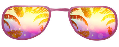 Sunglasses  with the reflection of palm leaves, beach and sun on a white background. Stock Photos