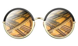 Sunglasses with reflection of road intersection royalty free stock photo
