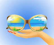 Sunglasses with reflection of the summer Royalty Free Stock Photography