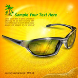 Sunglasses with reflection on yellow Stock Photo