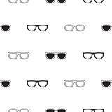 Sunglasses retro seamless pattern in black and white. Sunglasses retro seamless vector pattern in black and white colors. Hipster eyewear background Royalty Free Stock Photo