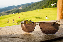 Sunglasses with rice paddy fields Royalty Free Stock Images