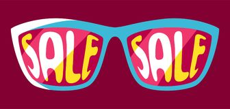 Sunglasses with sale. Shopping illustration in retro style Vector Illustration
