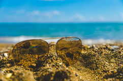 Sunglasses in the sand. With seashell around them royalty free stock image
