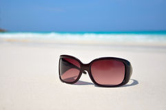 Sunglasses in the sand at the beach. Similan Islands, Thailand Stock Photo