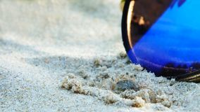 Sunglasses on the sand. Holiday desert is reflected in the glasses Stock Photography