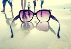 Sunglasses on the sand Stock Photos
