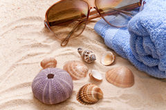 Sunglasses sandy beach Royalty Free Stock Photo
