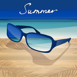 01 Sunglasses Sea. The illustration of beautiful summer background with blue sunglasses. Vector image Royalty Free Stock Photos