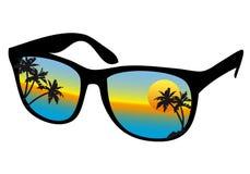 Sunglasses with sea sunset stock illustration