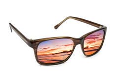 Sunglasses and seascape reflection Royalty Free Stock Photography