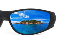 Sunglasses and seascape reflection Royalty Free Stock Image