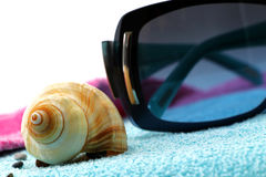 Sunglasses and seashell on a beach towel. A composition with a pair of fashion sunglasses and a seashell on a blue beach towel, detail, white background Stock Photography