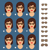 f81e50c5b79 Sunglasses shapes 7. Stock vector illustration of sunglasses shapes for  different womens face types -