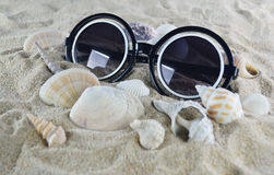 Sunglasses and shells on the beach sand Royalty Free Stock Photography