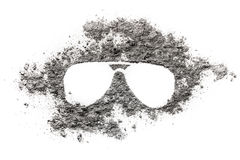 Sunglasses silhouette illustration made in ash as summer, danger royalty free stock photography