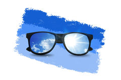 Sunglasses and sky reflection Royalty Free Stock Photo