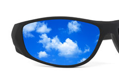 Sunglasses and sky reflection Stock Photo