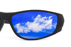 Sunglasses and sky reflection Royalty Free Stock Photos