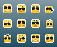 Sunglasses smile stickers set Royalty Free Stock Photography