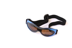Sunglasses with strap. Child's sunglasses used for skiing with strap isolated on a white background Royalty Free Stock Photos