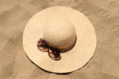 Sunglasses and straw hat Stock Photo