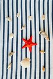 Summer, some sea stuff on white and stripped. Sunglasses, straw hat, seastar, stripped towel on white royalty free stock images