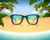 Sunglasses on summer sea coast with palms Royalty Free Stock Photography