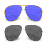 Sunglasses traveler. Sunglasses for the traveler black and blue color, vector format Royalty Free Stock Images