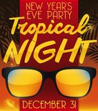 Sunglasses for Tropical Theme for New Year`s Eve Party,. Poster with tropical theme for New Year`s Eve Party with palms, sunglasses, fireworks and a sunset view Royalty Free Stock Photography