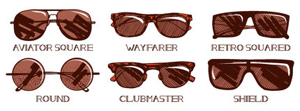 Sunglasses types set Royalty Free Stock Photography