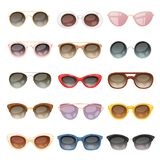 Sunglasses vector cartoon eyeglasses or sun glasses in stylish shapes for party and fashion optical spectacles set of Stock Illustration