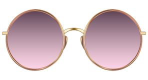 Sunglasses with violet lens and gold metalic frame. Realistic sunglasses with violet gradient lens and gold metallic frame. Vector 3D illustration vector illustration