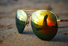 Sunglasses with wedding couple stock photo