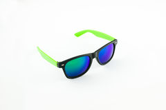 Sunglasses on white background. Black and green sunglasses on a white background stock photos