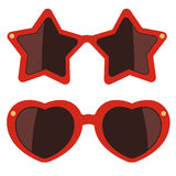 Sunglasses on white background. Vector illustration. Party accessories. Eyewear for valentine's day Royalty Free Stock Photos