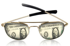 Sunglasses  on white close up. Reflection of a money in sunglasses   on white close up Stock Images