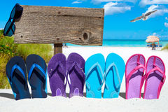 Sunglasses on wooden signboard. Wooden signboard with copy space, sunglasses and a row of colorful flip flops on the sunny beach Royalty Free Stock Photos