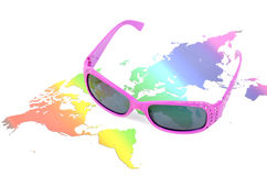 Sunglasses and world map Royalty Free Stock Photos