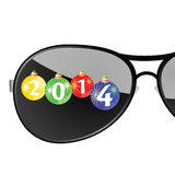 Sunglasses with 2014 year color vector. Illustration royalty free illustration