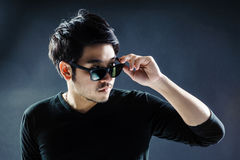 Sunglasses young man model fashion Royalty Free Stock Photos